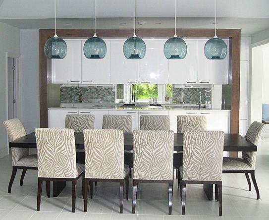Beach Kitchen And Dining Room The Blue Globe Light Pendants Make