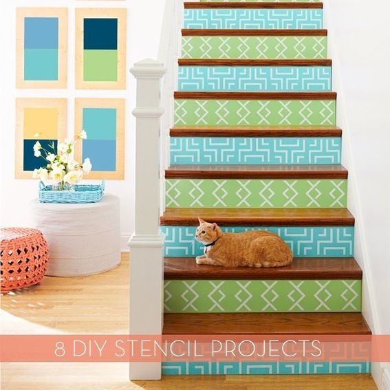credit: Lowe's Creative Ideas [http://lowescreativeideas.com/idea-library/projects/Stenciled_Stair_Risers.aspx]