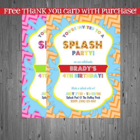 splash party Birthday Invitation, first birthday party invitation - birthday invitation pool party