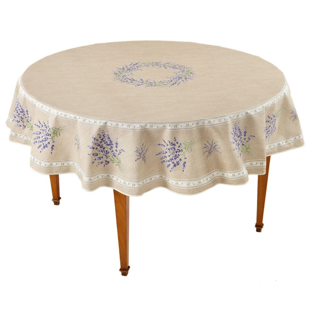 Valensole Beige Round French Tablecloth Round Tablecloth Vinyl