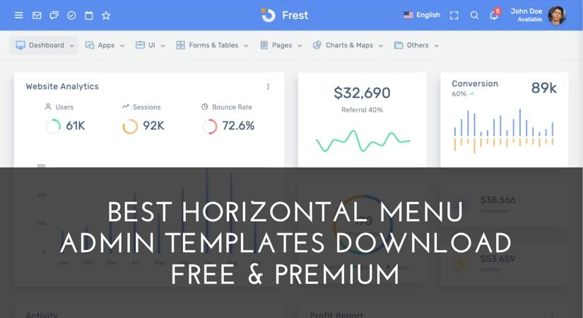 30 Best Horizontal Menu Admin Template Download Free Premium For 2020 With Images Templates