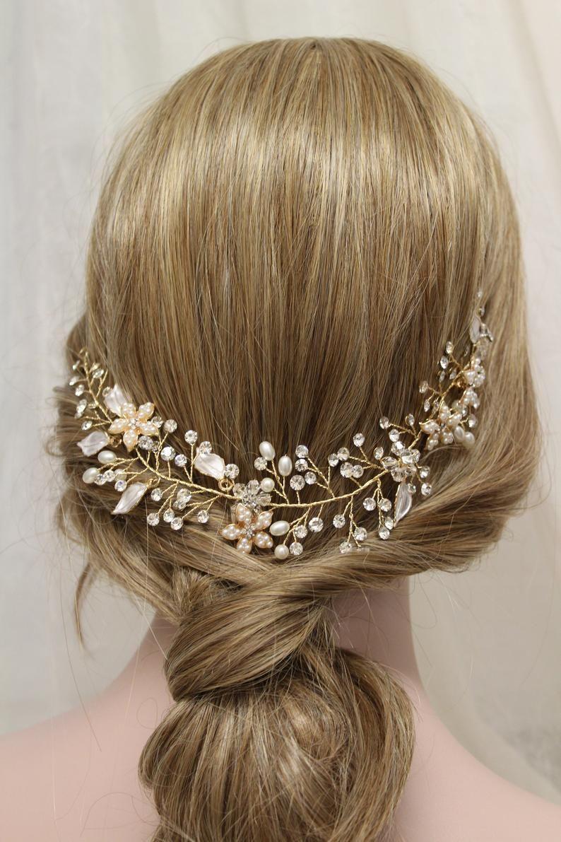 gold wedding hair vine , crystal pearl hair piece, leaf
