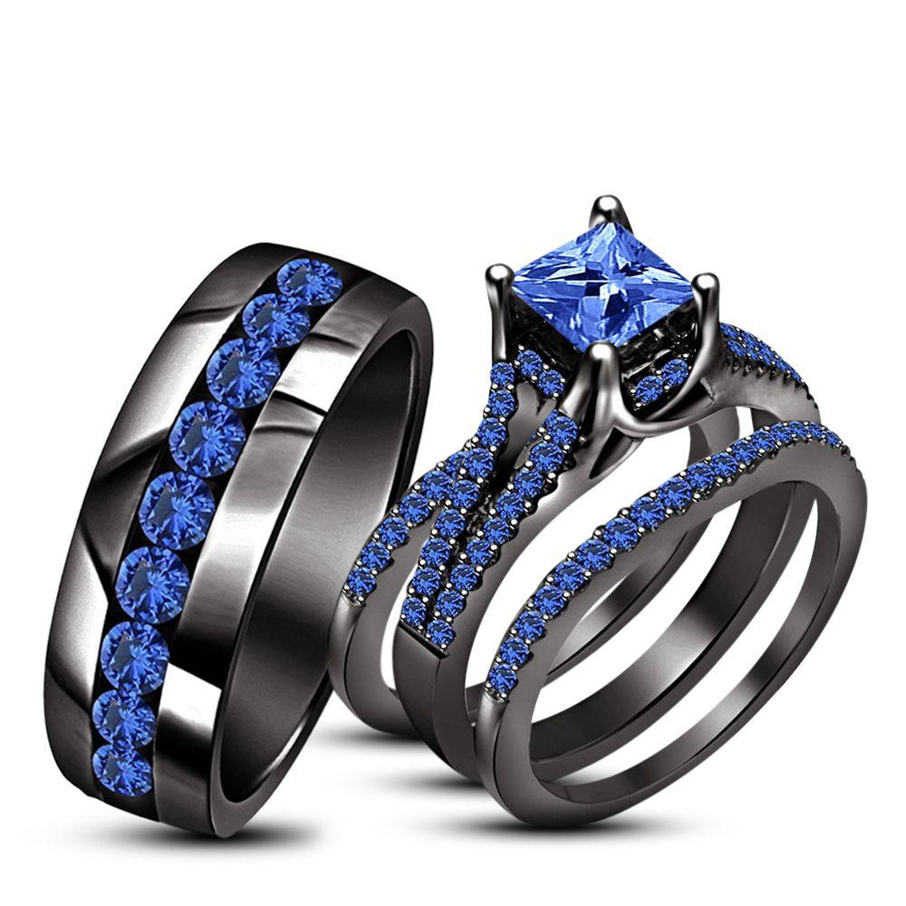 His Her Wedding Ring Trio Set Blue Sapphire 10k Black Gold