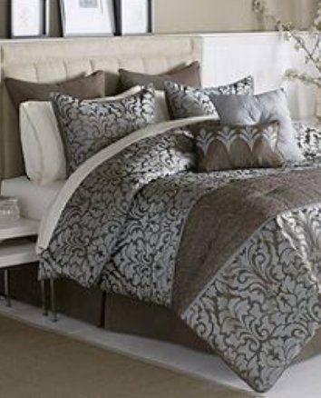 Antionette Brown Grey King 24 Piece Comforter Set King