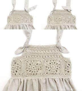 Vestido Granny Squares de Bebé combinado con Tela #uncinettoperbambina