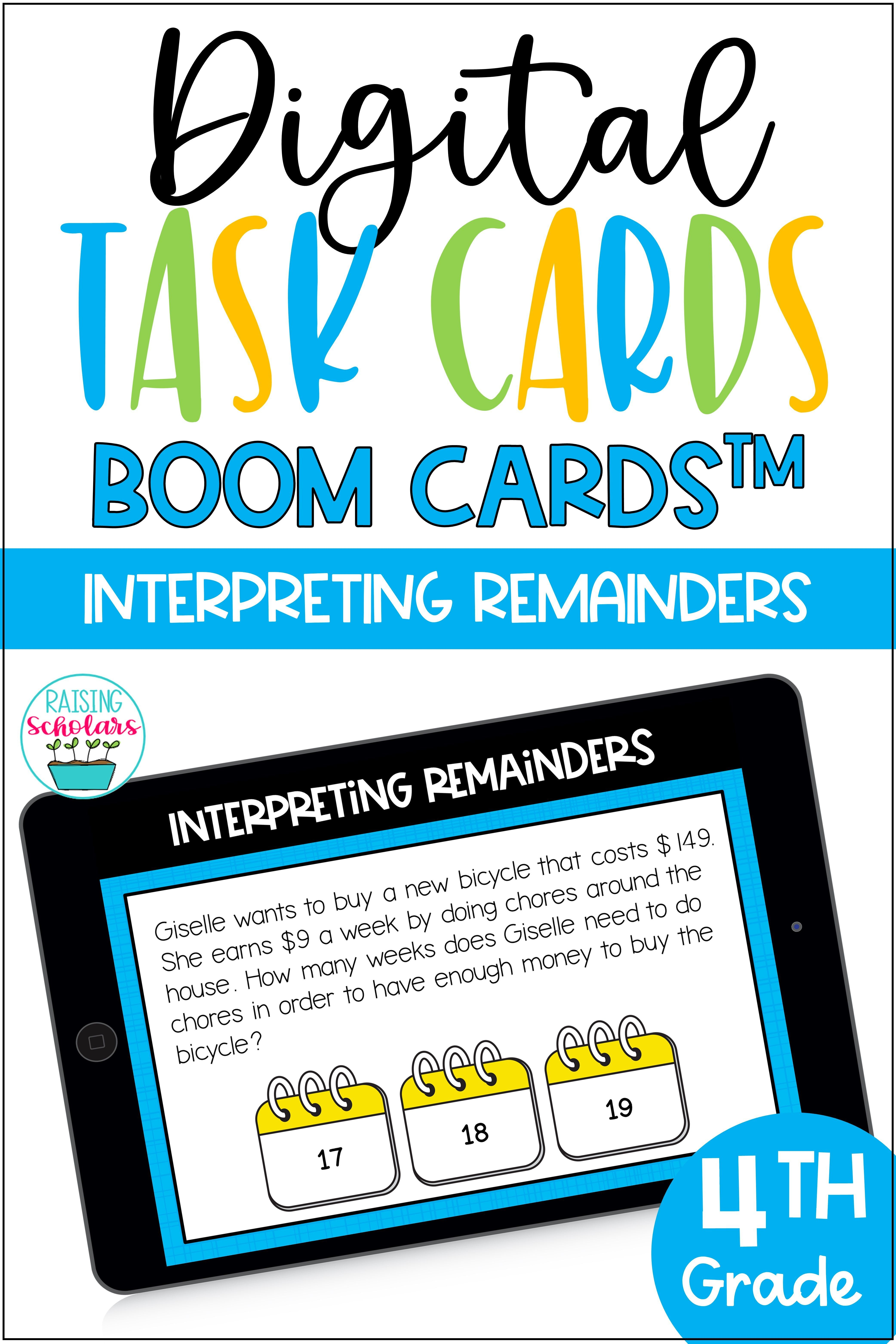 Interpreting Remainders Division Boom Cards Digital Task Cards In 2020 Digital Task Cards Task Cards Interpreting Remainders