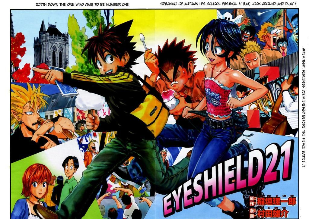 Eyeshield 21. Absolutely amazing!!!! And LOOK AT THE F*CKING ART!!!!!
