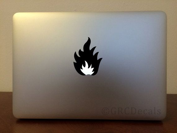 Flame mac apple logo cover laptop vinyl decal sticker macbook decal fire unique shape science electricity energy