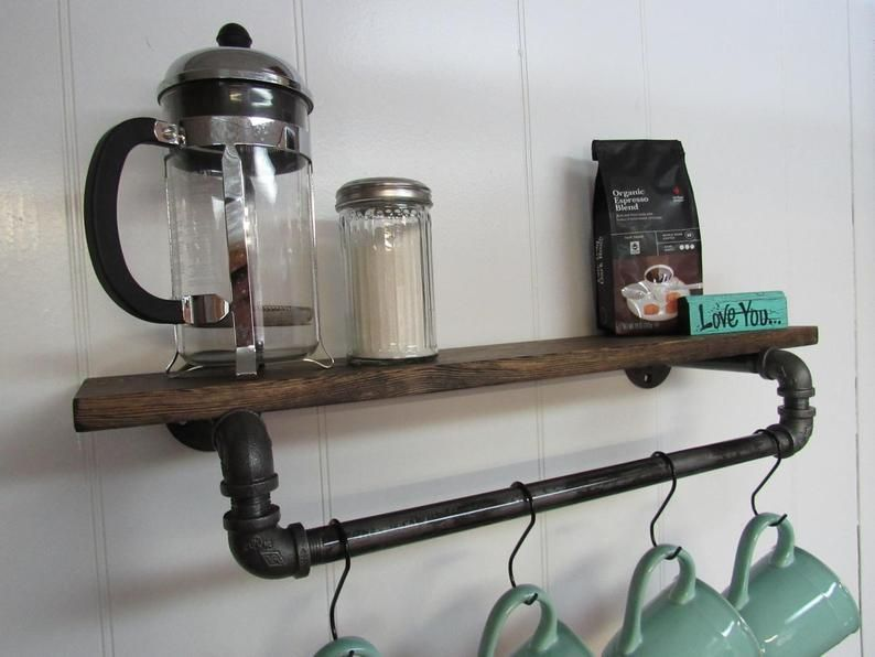 Coffee Mug Rack Shelf, Coffee Bar, Mug Hanger, Coffee Mug Rack, Tea Cup, Coffee Decor, Coffee Shelf, Kitchen Decor