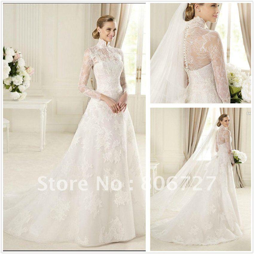 Elegant High Neck Lace A Line Long Sleeve Wedding Gowns Us 207 00 Wedding Dresses Long Sleeve Wedding Gowns Long Sleeve Wedding Dress Lace
