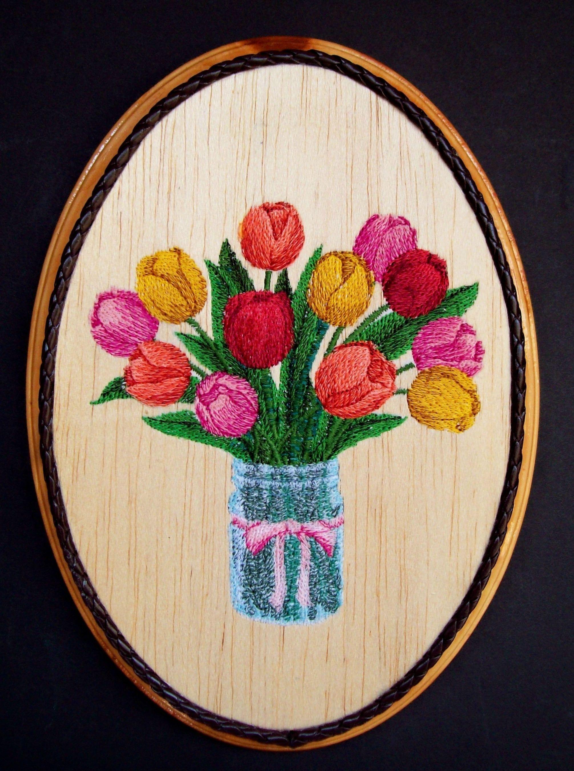 Garden wall art flowers  Mason Jar Tulips Embroidery Wood Art Country Kitchen Decor Cottage