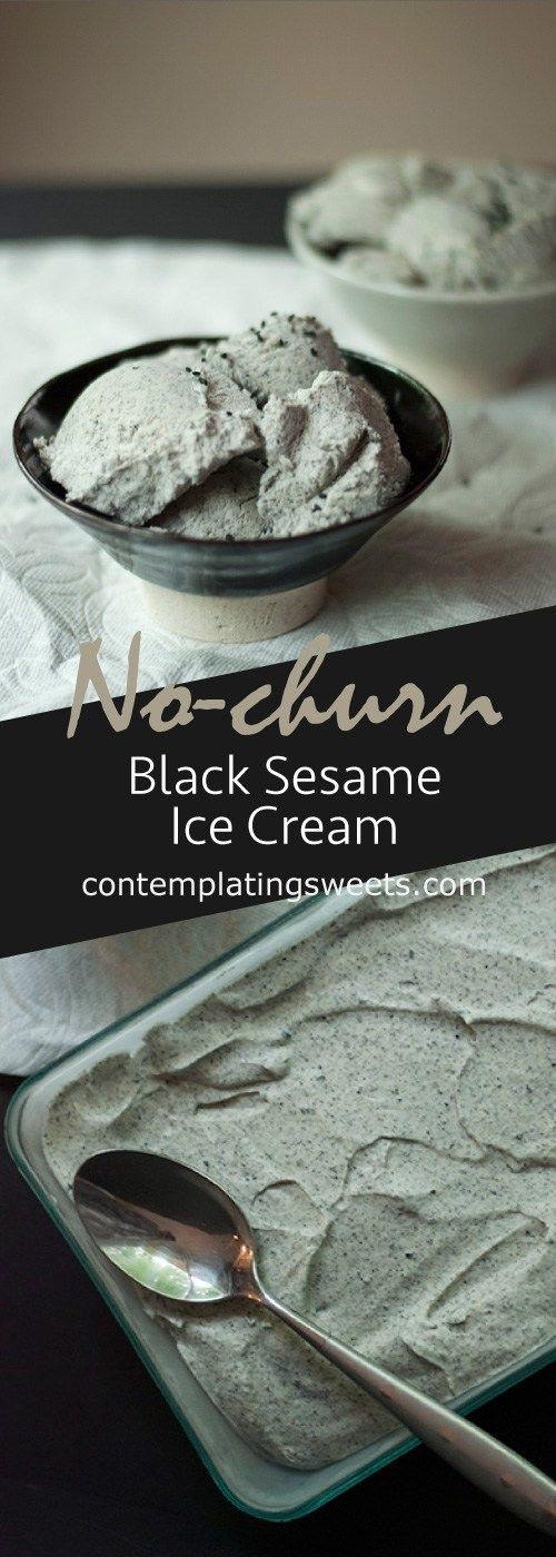 No-churn Black Sesame Ice Cream | Contemplating Sweets #icecreampopsicle