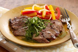 marinated steak with chimichurri sauce