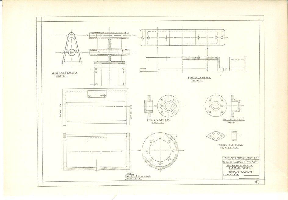 1904 Technical Drawing - Antique Math Geometric Mechanical Drafting - new old blueprint art