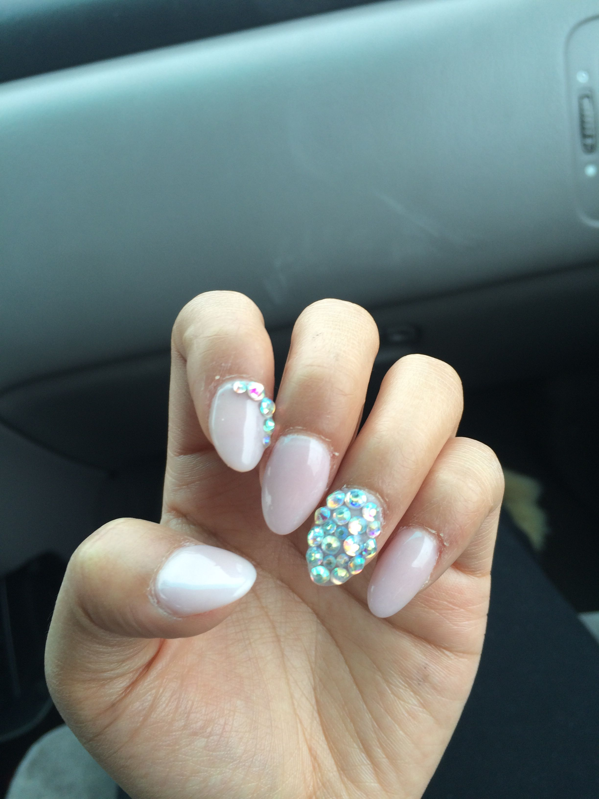 Nude Solar Nails With Gem Designs Nails Pinterest Solar And