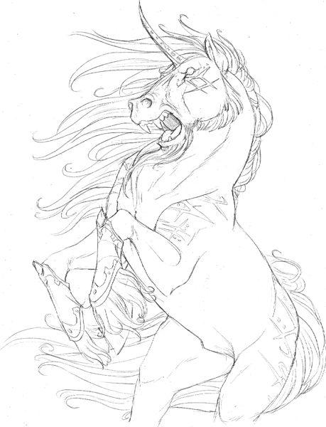 Evil Unicorn Sketch Unicorn Sketch Evil Unicorn Unicorn Drawing