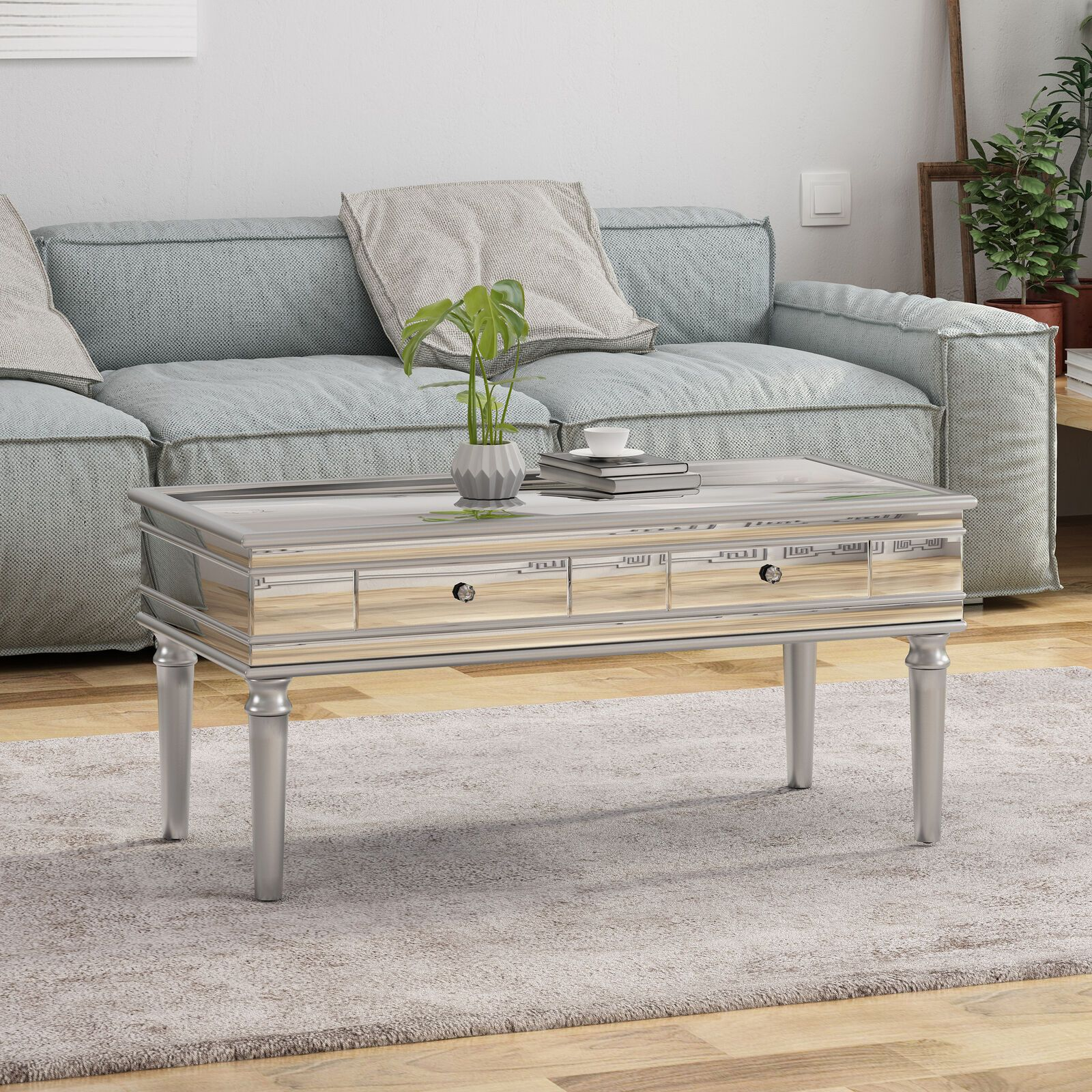 Xanthe Modern Mirrored Coffee Table With Drawers Tempered Glass Coffee Table Mirrored Coffee Tables Table [ 1600 x 1600 Pixel ]