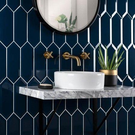 pickett™ bevelled navy tiles in 2020 | bathroom wall tile