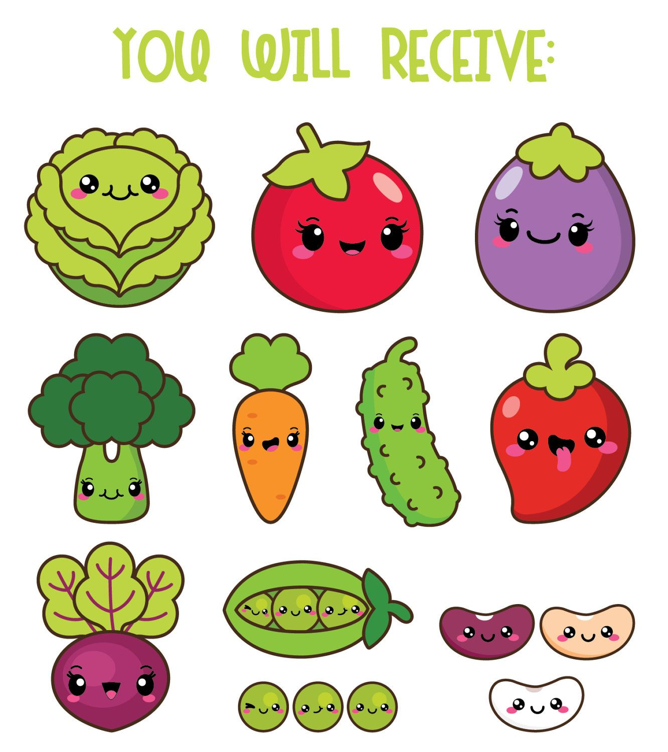 Kawaii Vegetables Clipart Kawaii Veggies Clipart Healthy Etsy In 2020 Cute Food Drawings Clip Art Vegetable Drawing