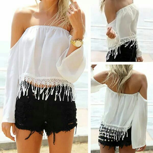 Cute fringe off the shoulder top Rosegal