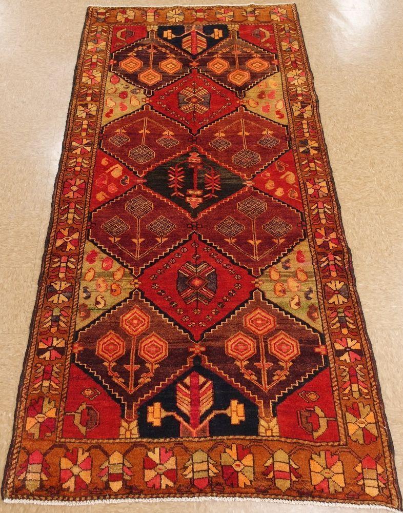 Persian Luri Tribal Hand Knotted Wool Red Purple Oriental Rug