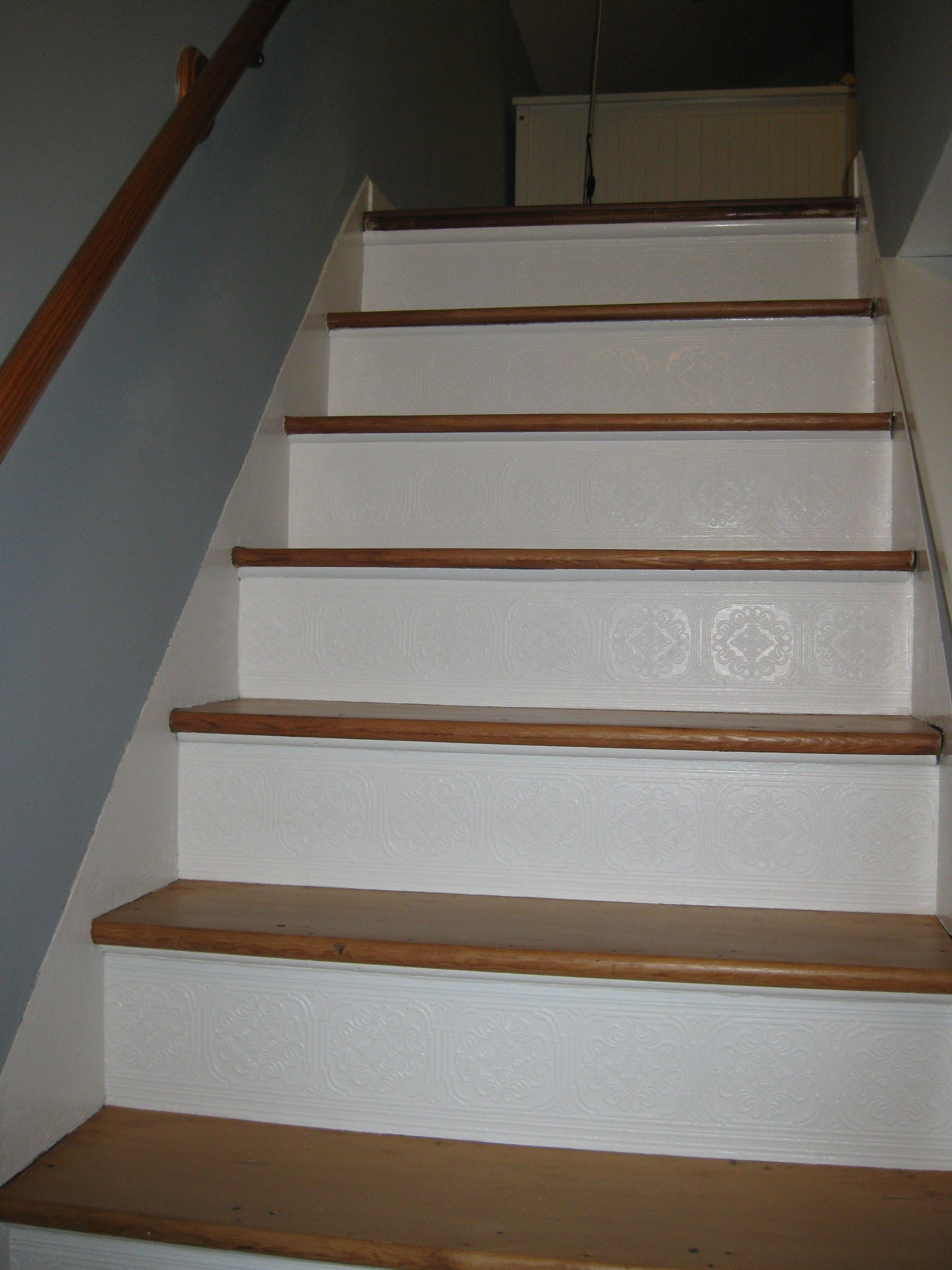 The Finished Stairs 3 Rolls Of Paintable Textured Wallpaper | Wood Stair Stringers Lowes | Deck Stair Tread | Pressure Treated Pine Stair | Severe Weather | Outdoor Stair | Stair Railing