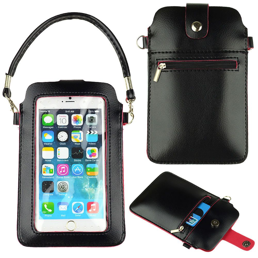 Details about 675 black leather phone pouch purse case
