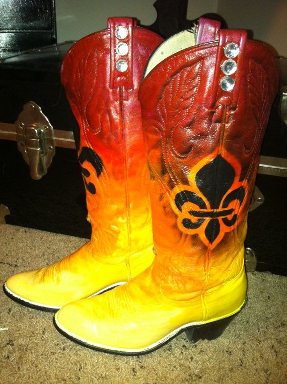 7ace0f1fb6b One Of A Kind Hand Painted Cowboy Boots by AmberRoseTreasures ...