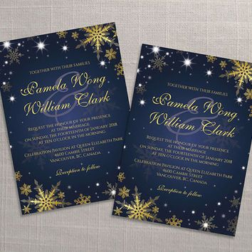 DIY Printable Wedding Invitation Card Template | Editable MS Word file | 5 x 7 | Instant Download | Winter Gold Snowflakes Royal Navy Blue
