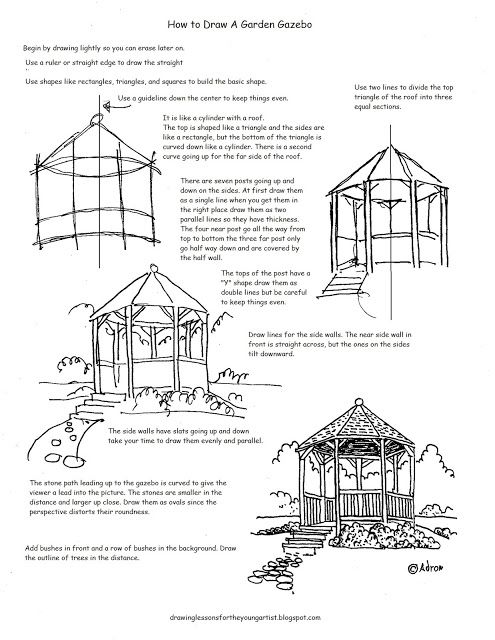 How To Draw A Garden Gazebo Worksheet And Drawing Lesson