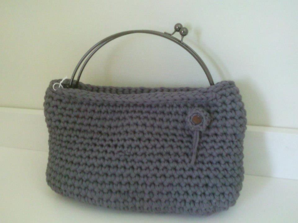 grey bag with metal handles!