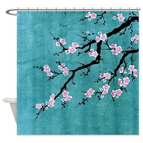 Charming Pretty Cherry Blossom Shower Curtain   Pink Blossoms On A Teal Background.  #cherrybshowercurtainscglam
