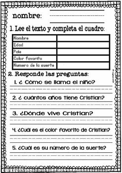 Fabulous image within free printable spanish reading comprehension worksheets
