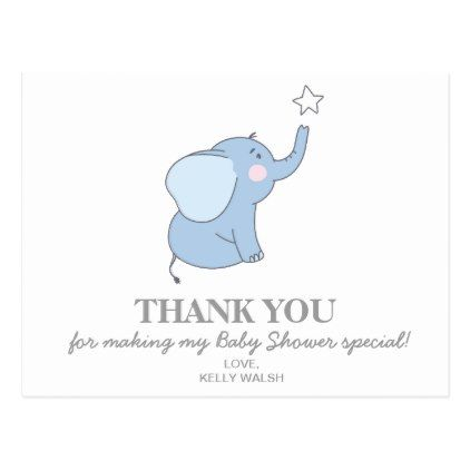 Elephant Baby Shower Thank You Note Postcard  Baby Gifts Child