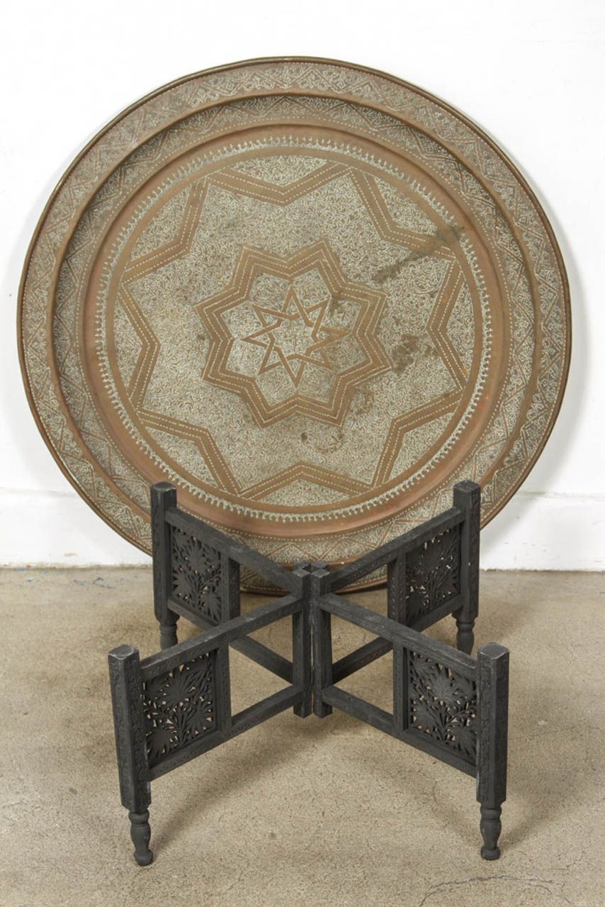 The antique coffee tea table berber benares tray lamp oriental folding - Moroccan Round Brass Tray Coffee Table