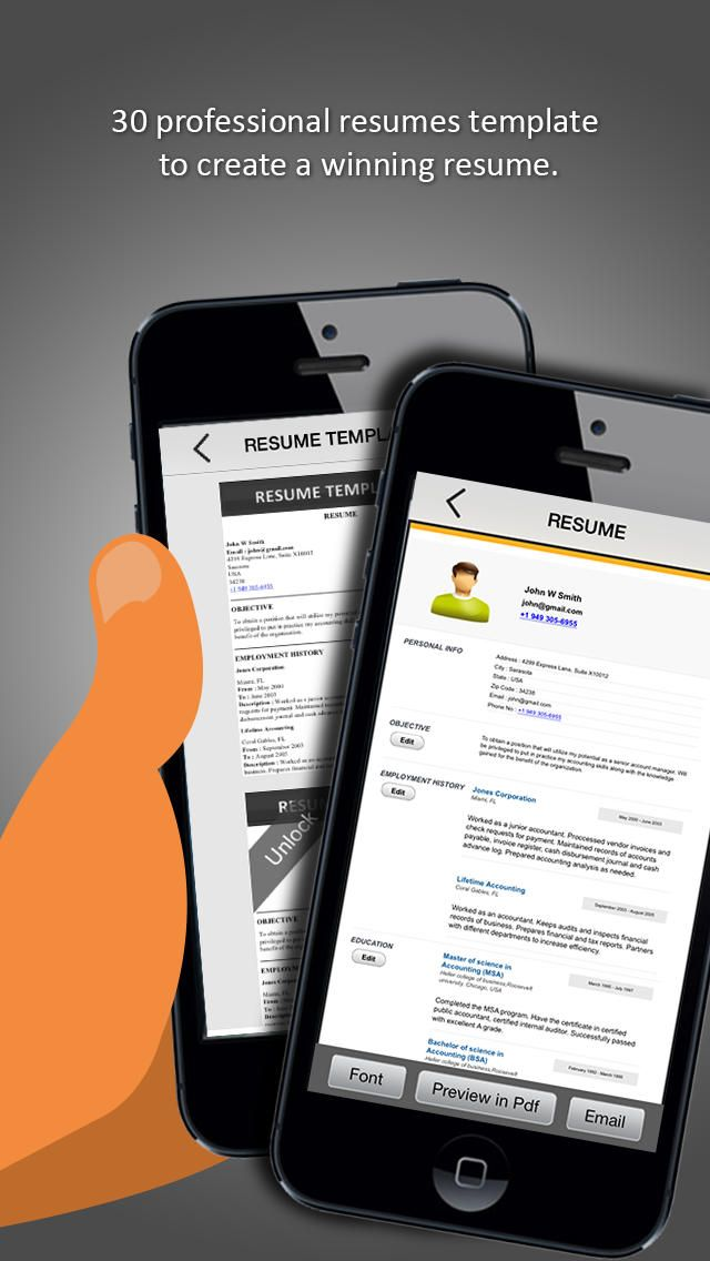 iResumes app Resume/CV Apps Pinterest Resume builder - resume generator