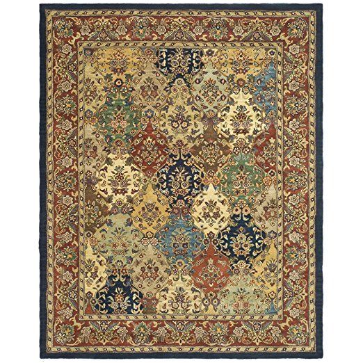 Safavieh Heritage Collection Hg911a Handmade Traditional Oriental Multi And Burgundy Wool Area Rug 12