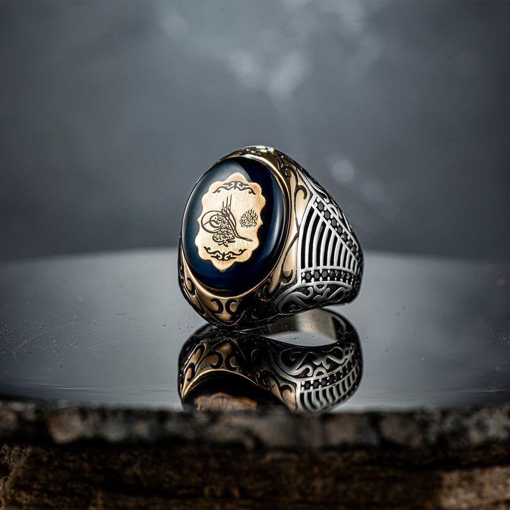 Men silver ring amber gemstone with Islamic calligraphy 925 sterling silver Turkish artisan jewelry