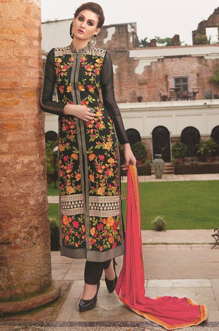 87e4ada870 #Black Georgette Narrow Pant Suit with Dupatta - #DesignerChuridarSuits