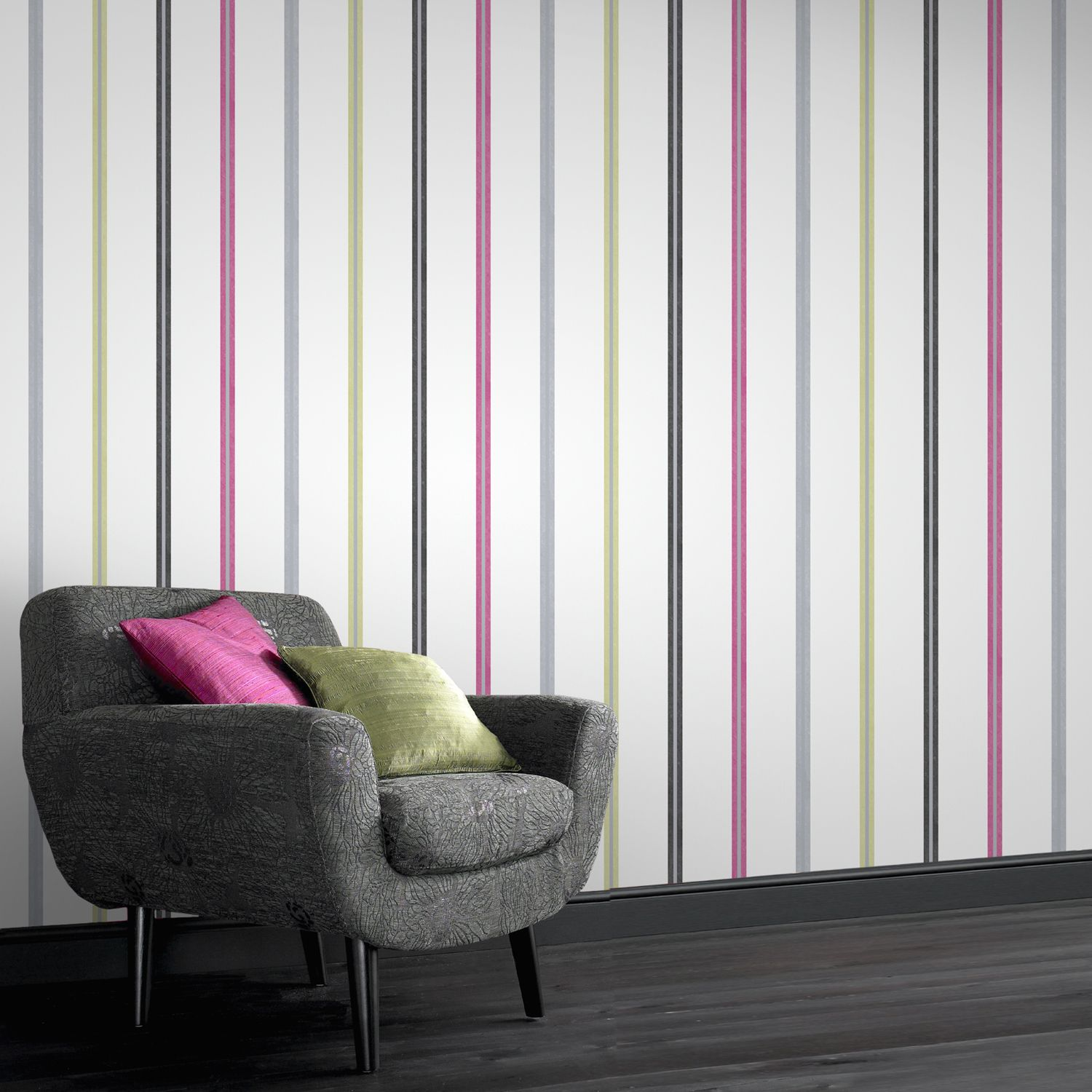 Signature Stripe Multi Coloured Wallpaper By Laurence Llewelyn