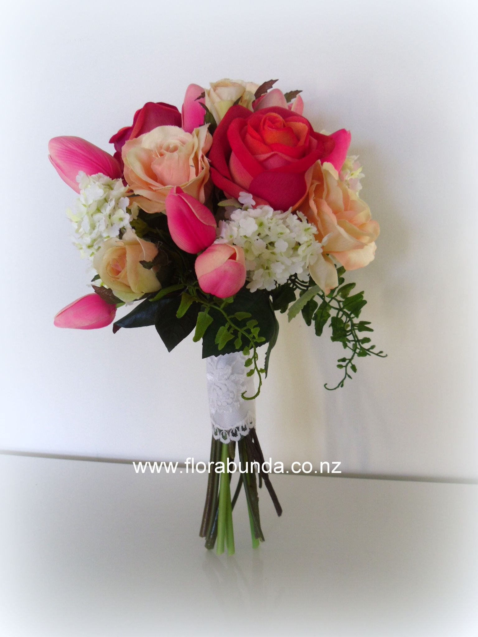 Bright Pinks And Corals Mixed With Apricot And White For This Cute