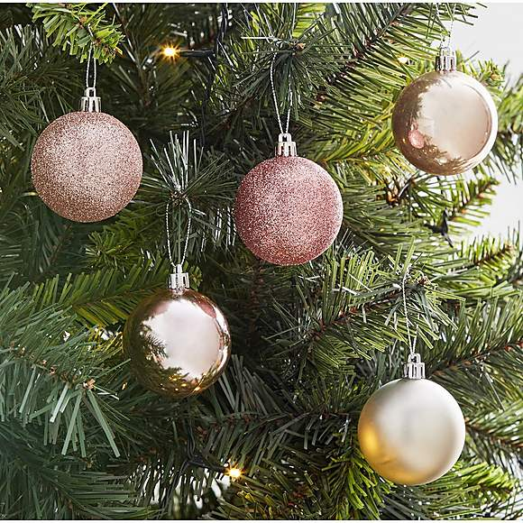 Pack Of 34 Dreamscape Baubles Dunelm Pink Ornament Pink Christmas Decorations Christmas Bulbs