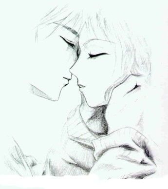 Anime Couple Kissing Drawing