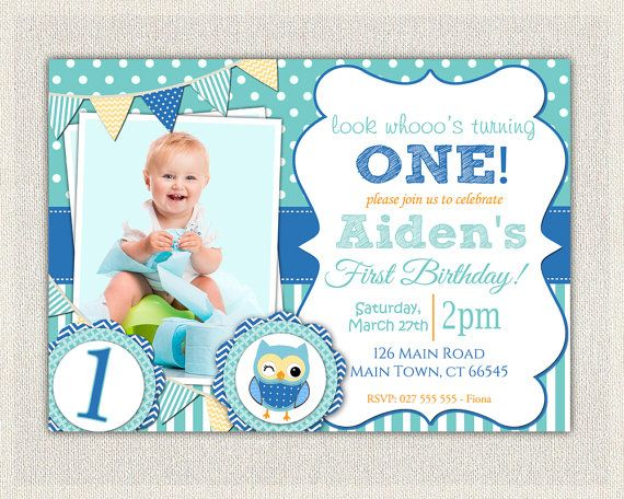 boys 1st birthday invitation blue owl printable download first