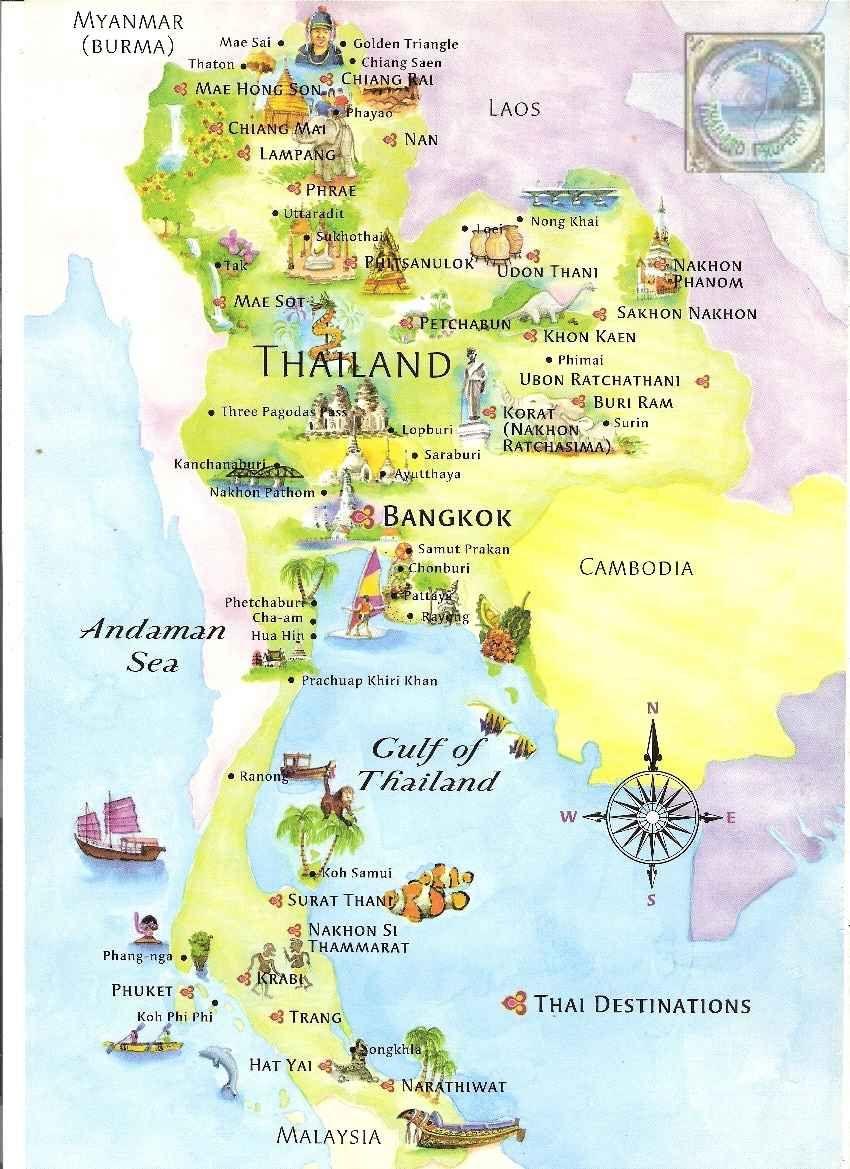 Thailand Geografiske Kort Over Thailand Thailand Tourist