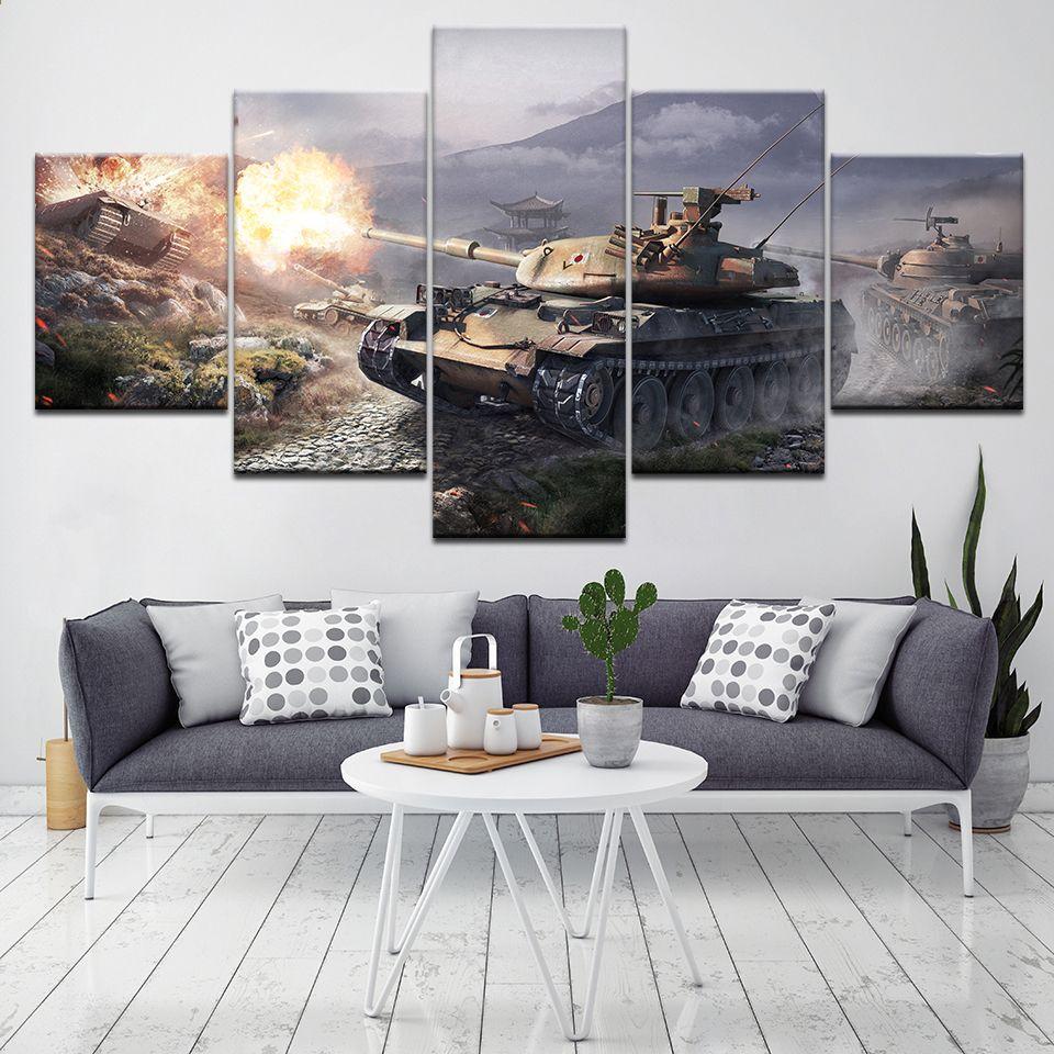 Welt Der Panzer 5 Stück Wand Kunst Leinwand Drucken Moderne Poster Modulare  Kunst Malerei Für Wohnzimmer