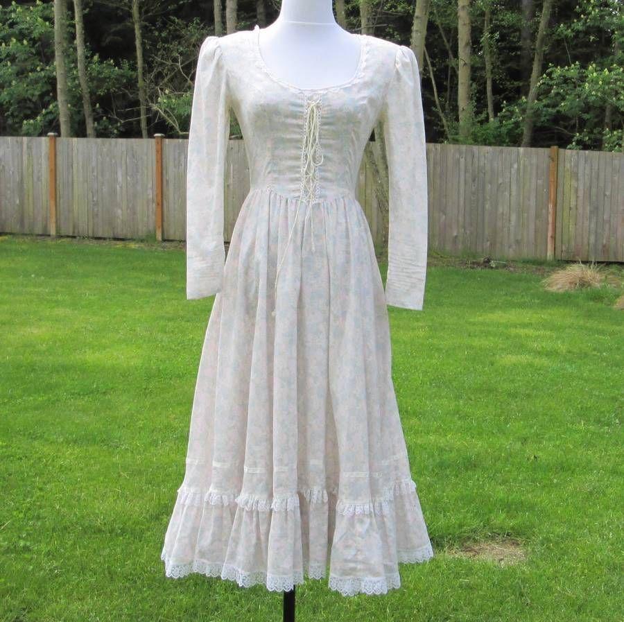 Vintage gunne sax floral dress womans xs small hippie boho
