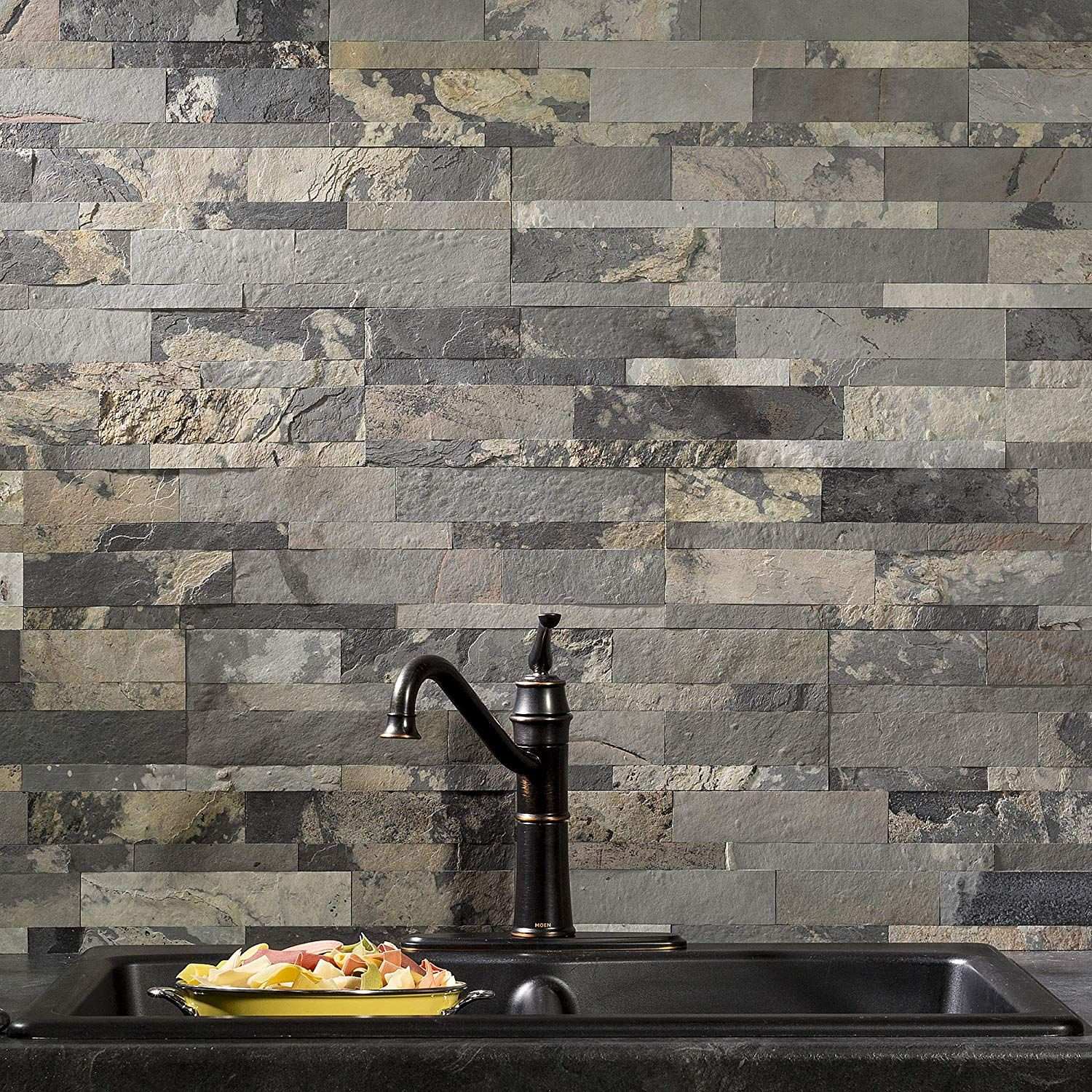 How To Install Stacked Stone Tile On Drywall Stone Backsplash Diy Tile Backsplash Stone Tile Backsplash