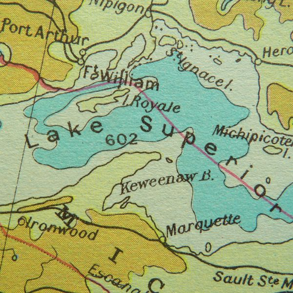 Old map of Lake Superior showing Port Arthur and Fort William