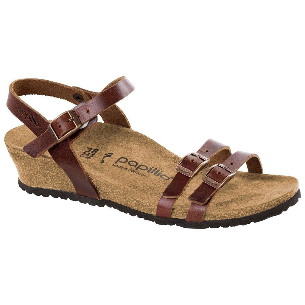 981dd7057618 Women s Lana Papillo Leather Wedge Sandal in Cognac by Birkenstock ...